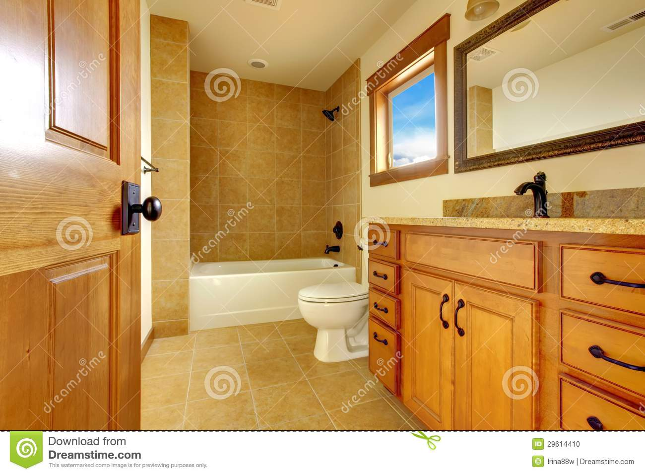 New Modern Beautiful Bathroom In Luxury Home Interior Stock Photo