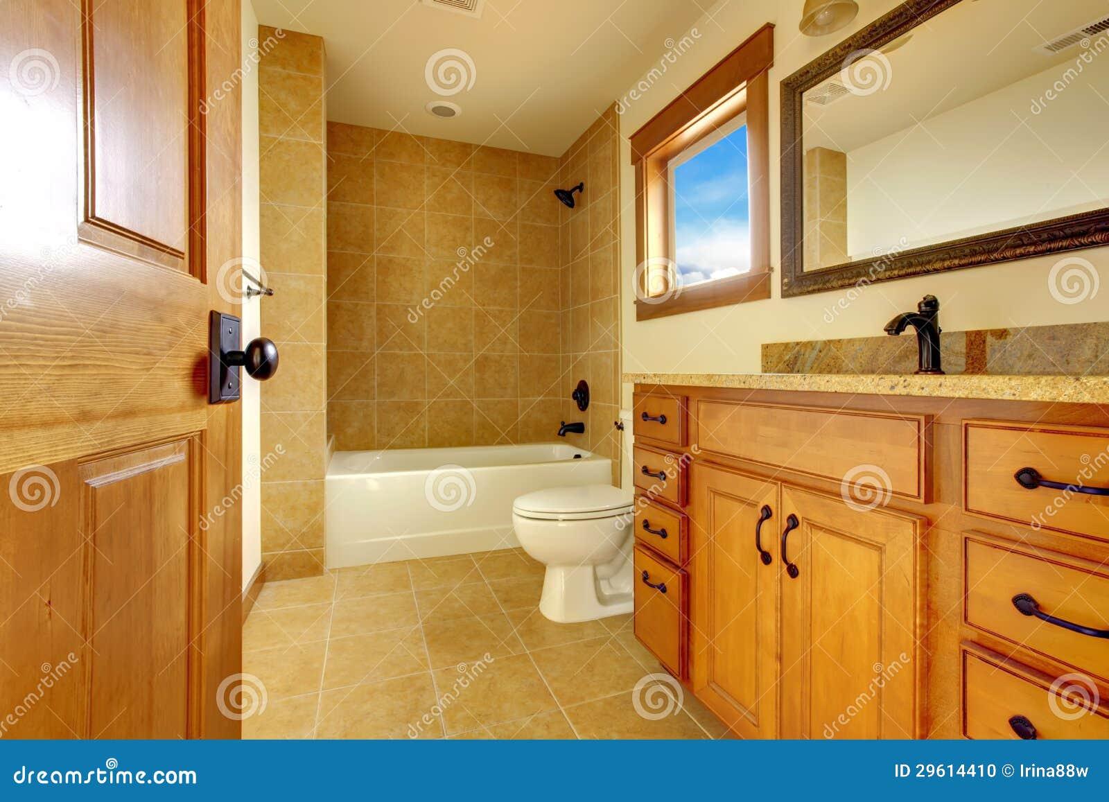 New Modern Beautiful Bathroom In Luxury Home Interior Stock Photo