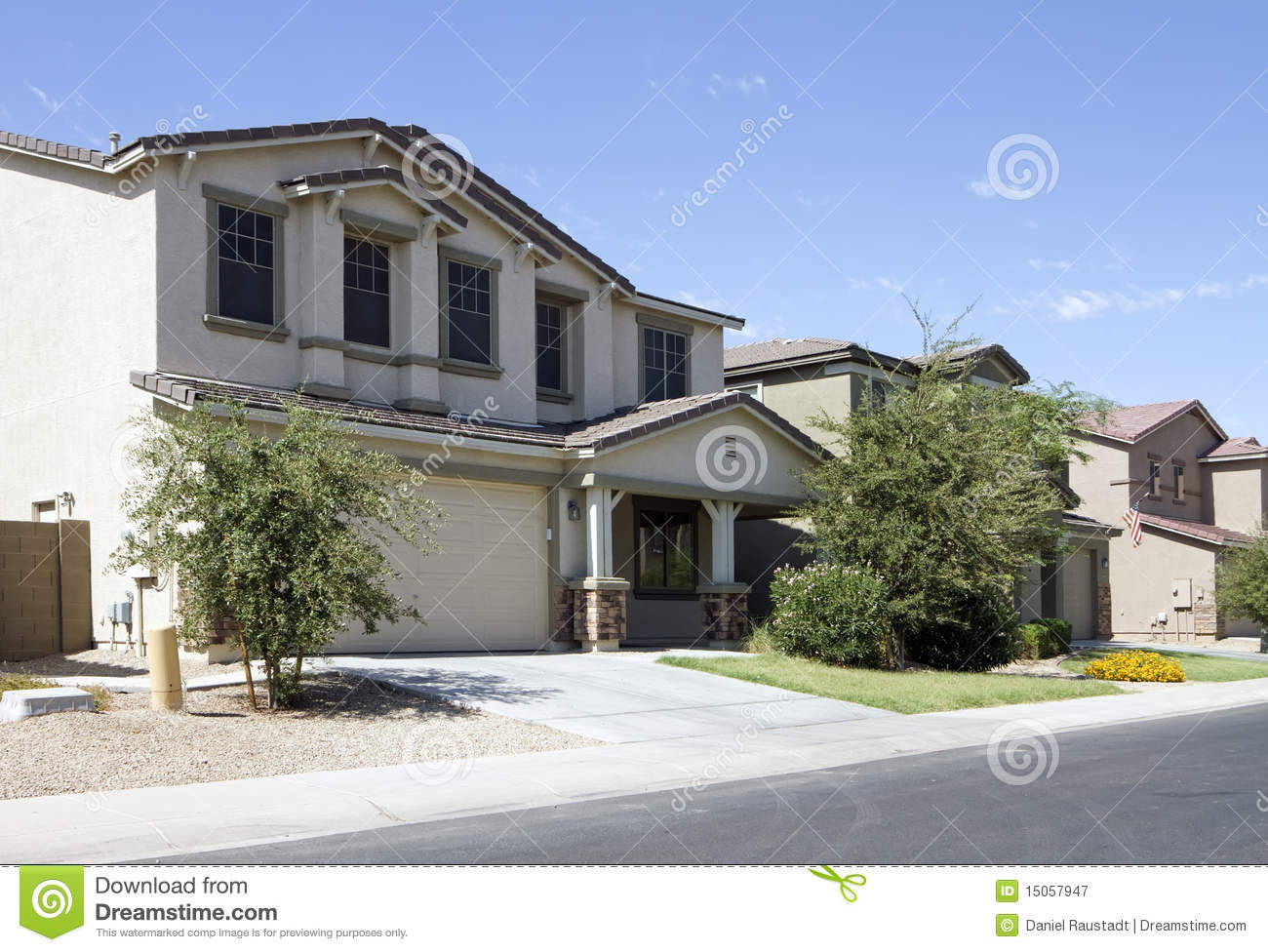 New modern classic home neighborhood stock photo for Classic modern homes