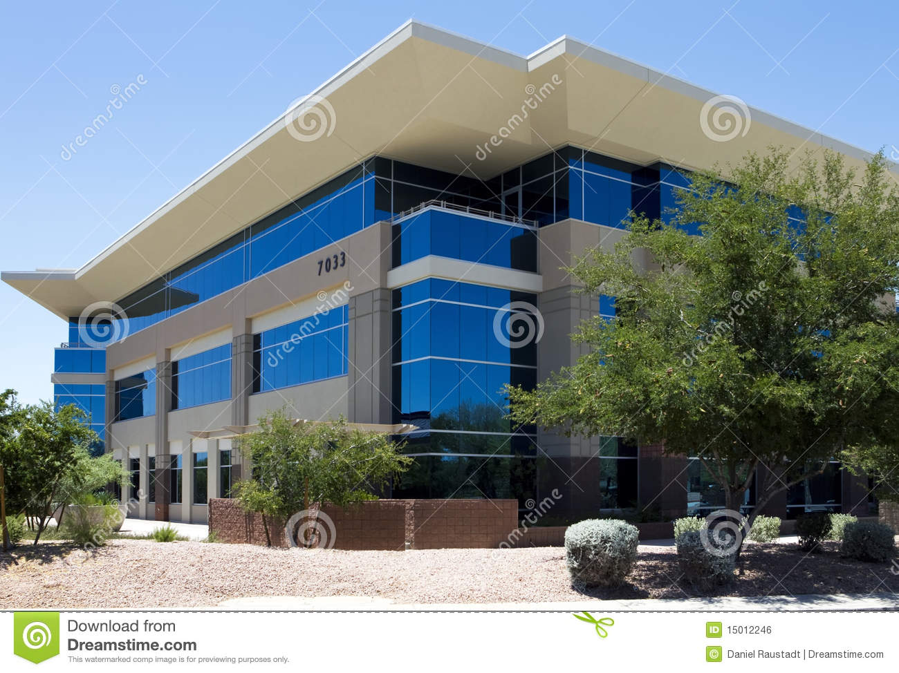 Exterior: New Modern Corporate Office Building Exterior Stock Photo