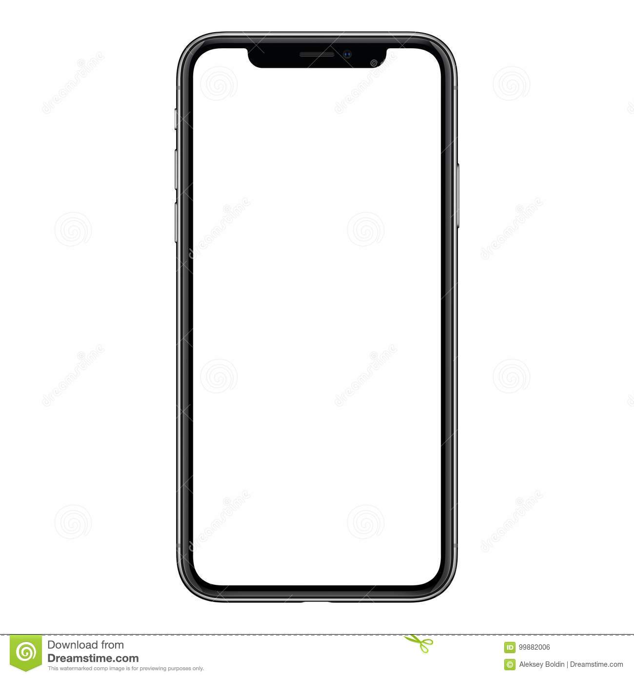 iPhone X. New modern frameless smartphone mockup with white screen isolated on white background