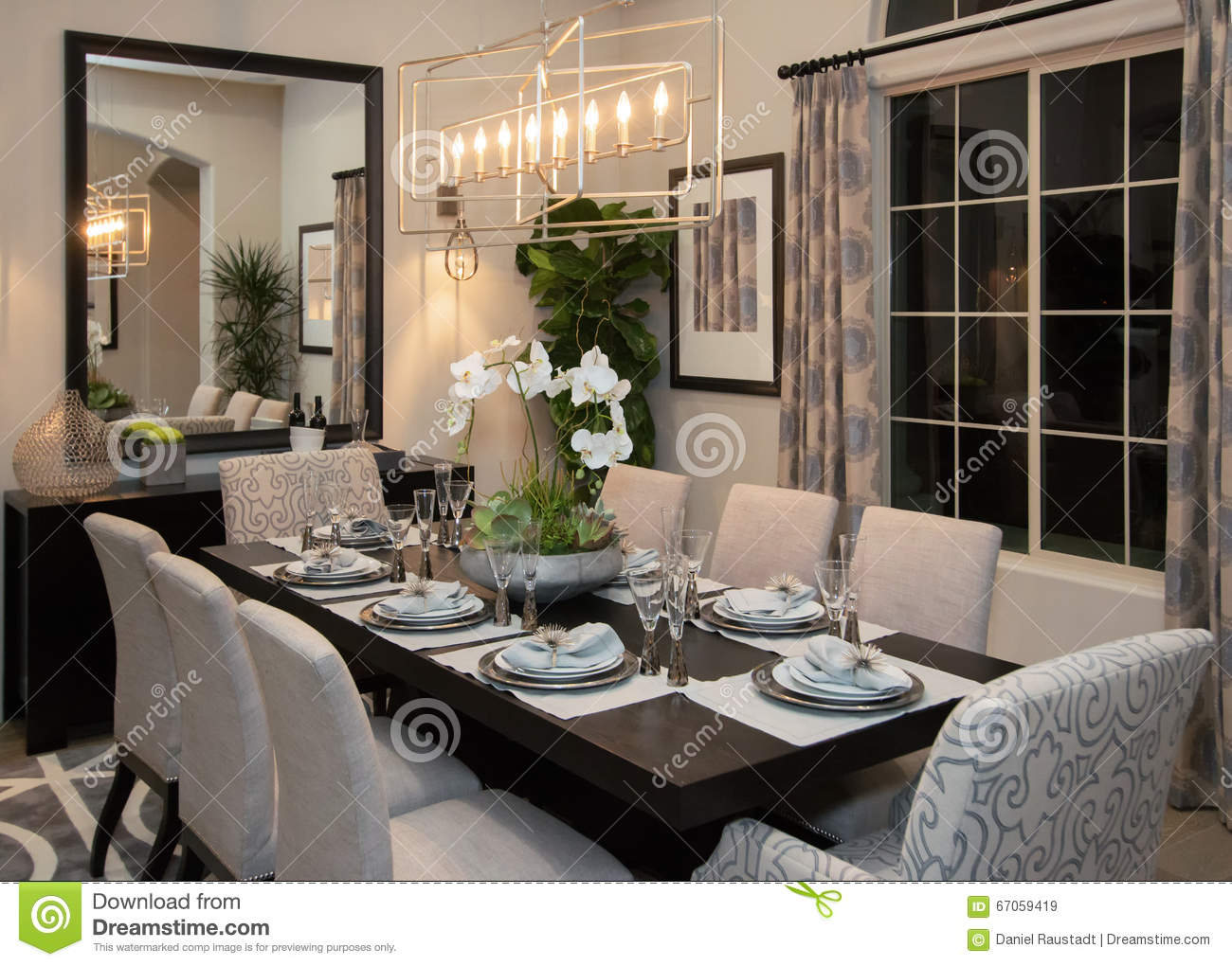 New Modern Home Fine Formal Dining Room Stock Image - Image of ...