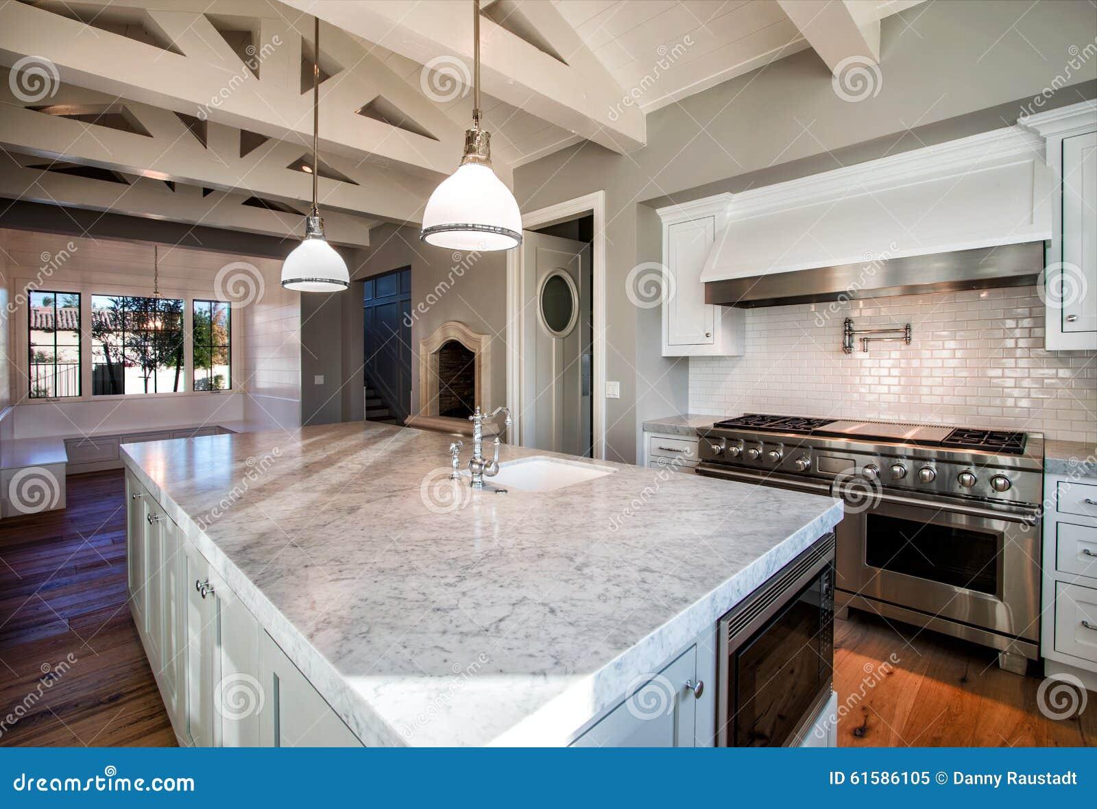 New Modern Home Large Kitchen Stock Image Image Of Modern Large