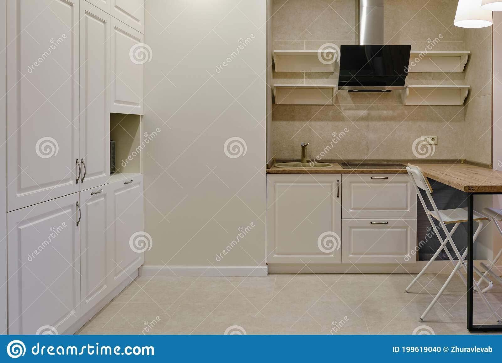New Modern Kitchen With A Bar Counter In White And Beige Colors Kitchen Furniture In The Style Of French Provence Stock Photo Image Of Copy Decor 199619040