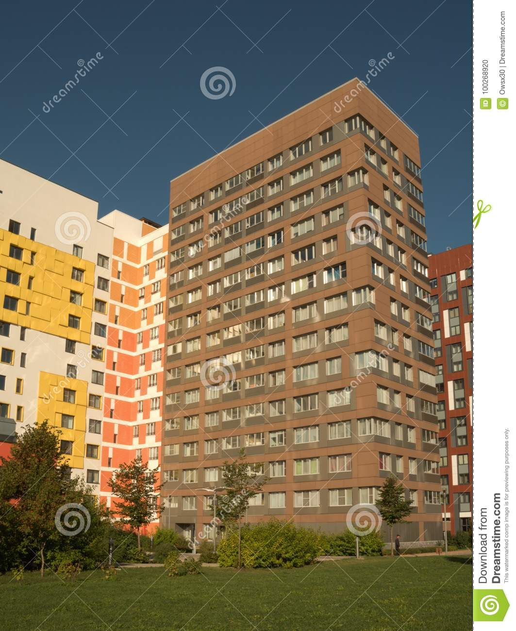 Apartment Complexes: New Modern Low Rise Apartment Complex. Moscow, Russia