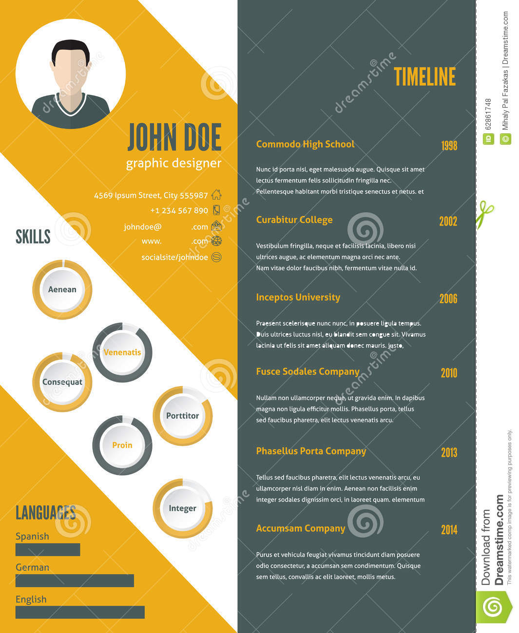 New Modern Resume Cv Template With Photo Stock Vector Illustration