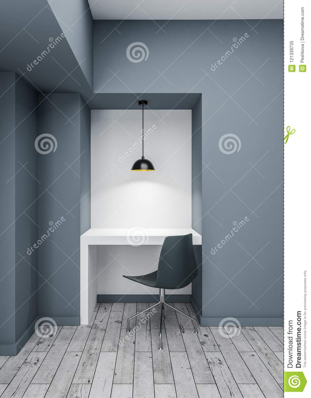 Image of: White Desk In Empty Room Stock Image Image Of Light 121339735