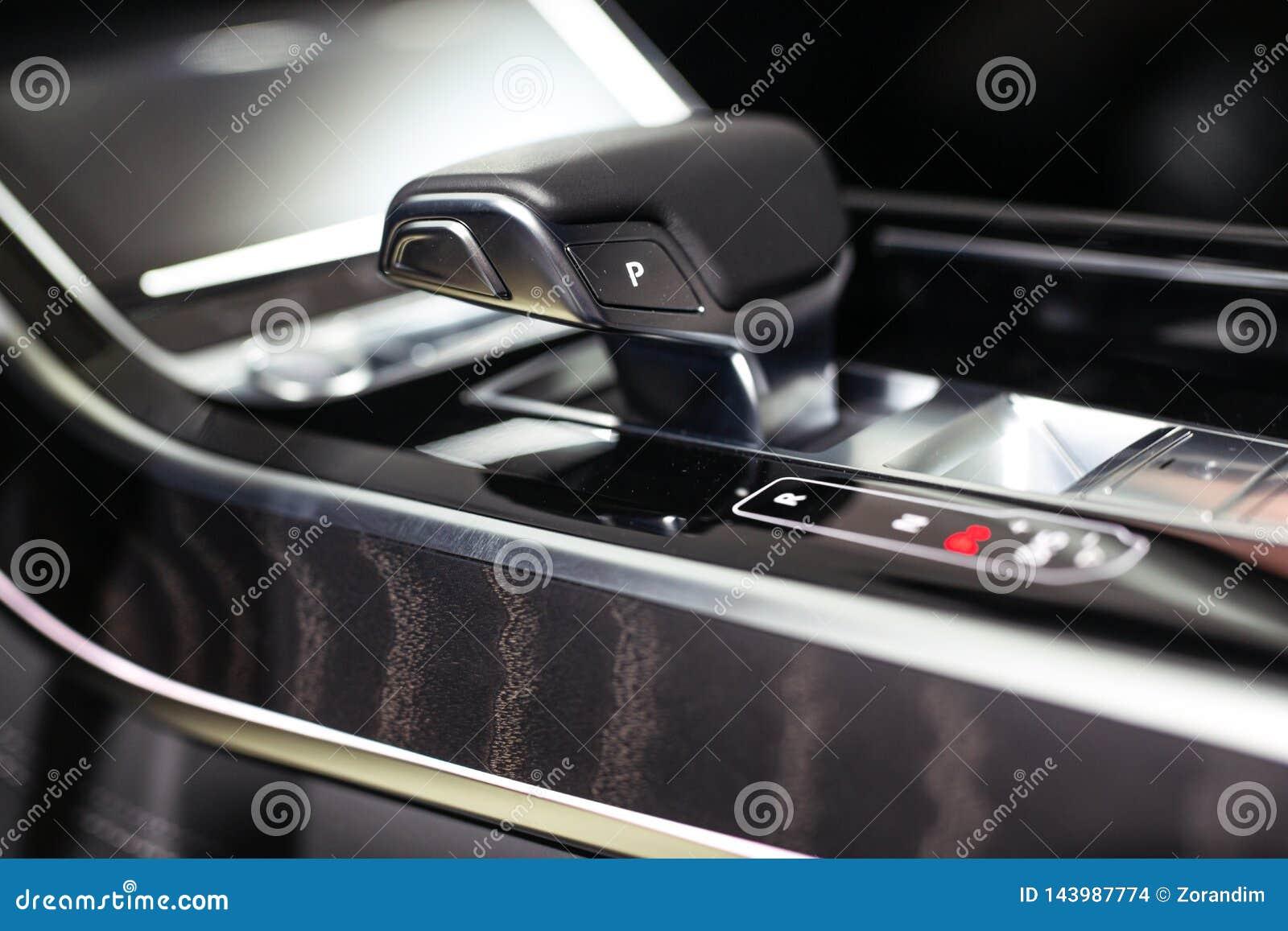 Modern shift gear in luxury car interior