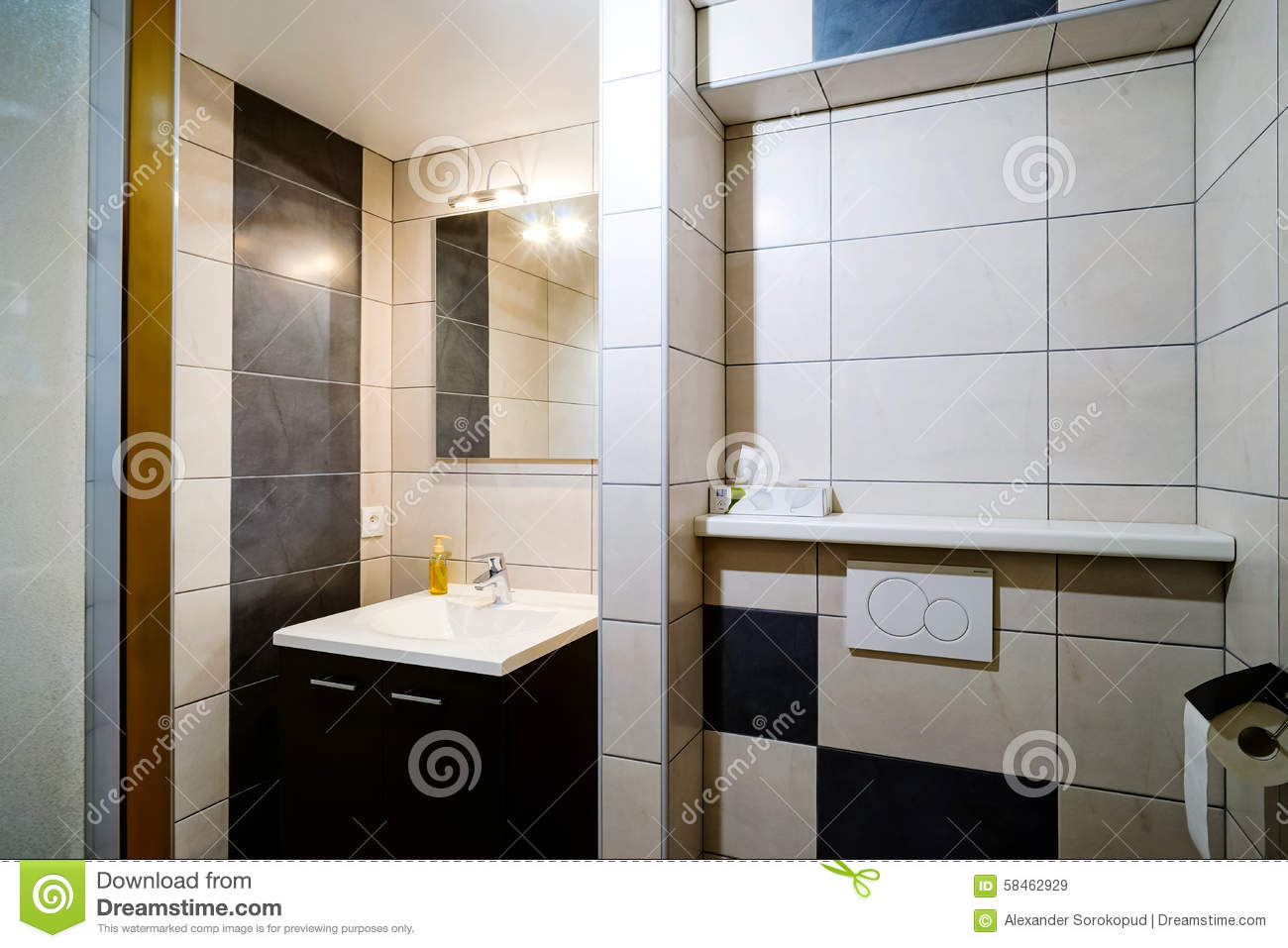New modern wc with douche in apartment stock image image of