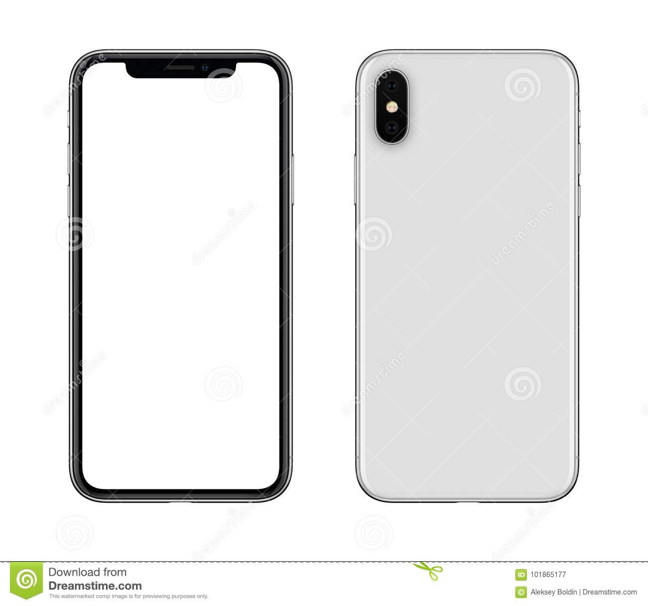 New Modern White Smartphone Similar To Iphone X Mockup Front And