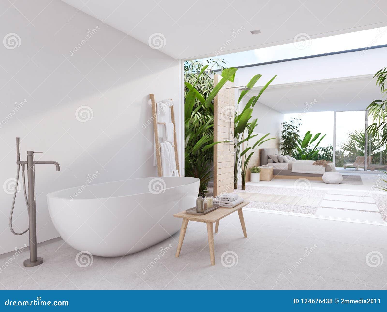 New Modern Zen Bathroom With Tropic Plants. 3d Rendering Stock ...
