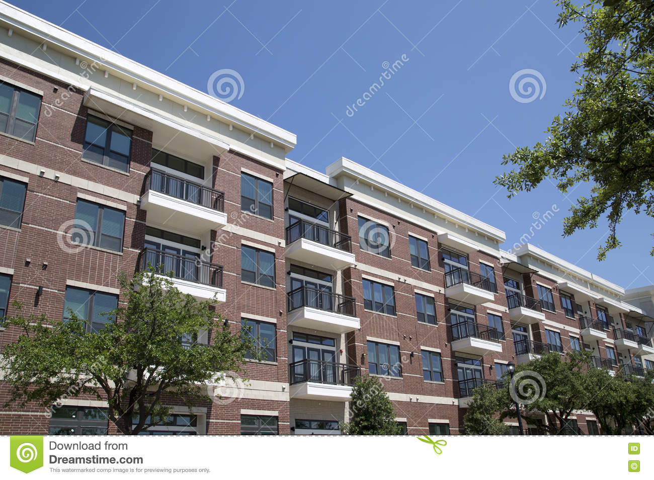 new nice apartment buildings with balcony stock photo - image