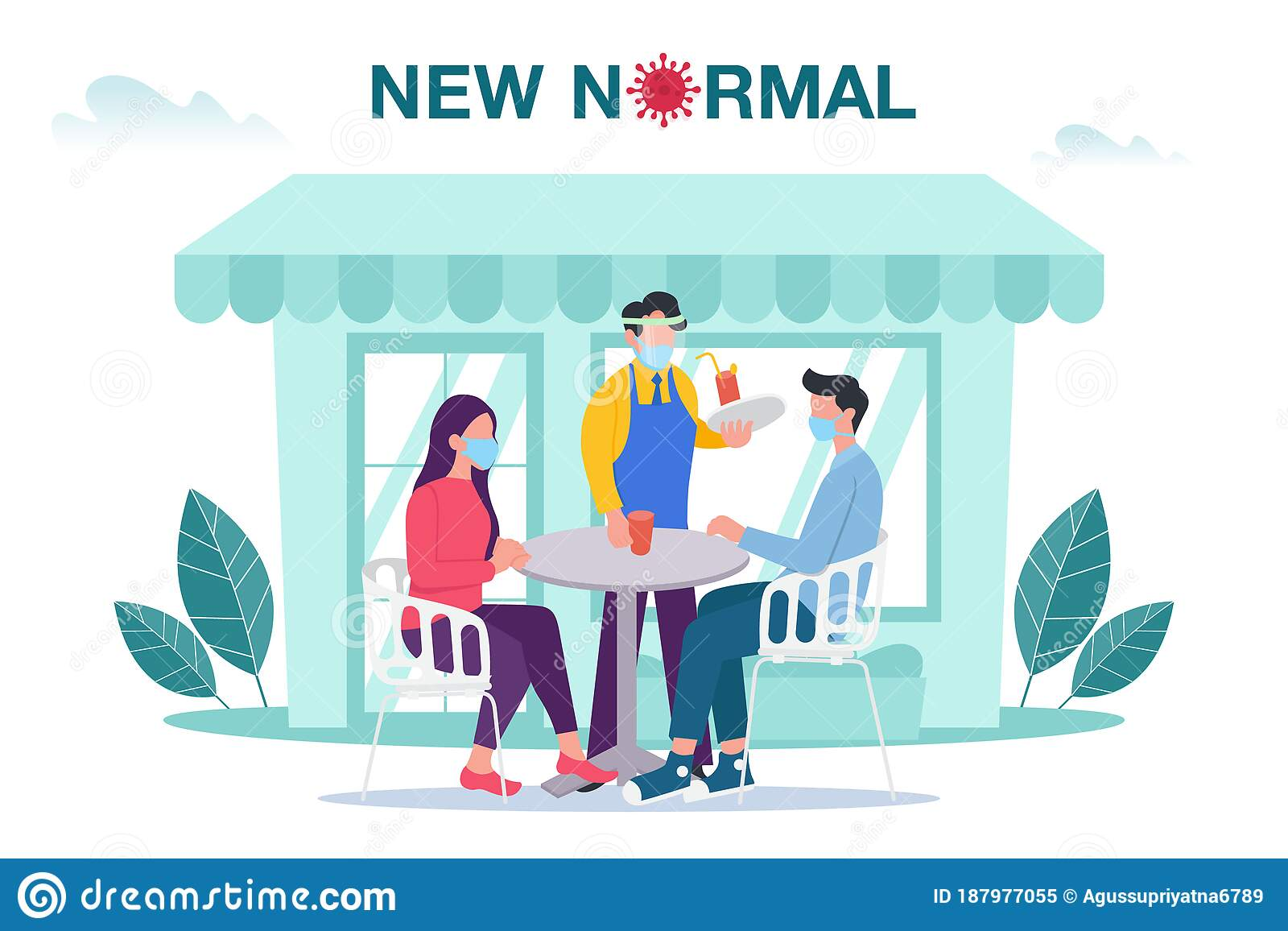 New Normal Concept Illustration With Male And Female Sitting At Outdoor Cafe Or Restaurant Tables With Face Mask Prevention From D Stock Vector Illustration Of Activity Infection 187977055
