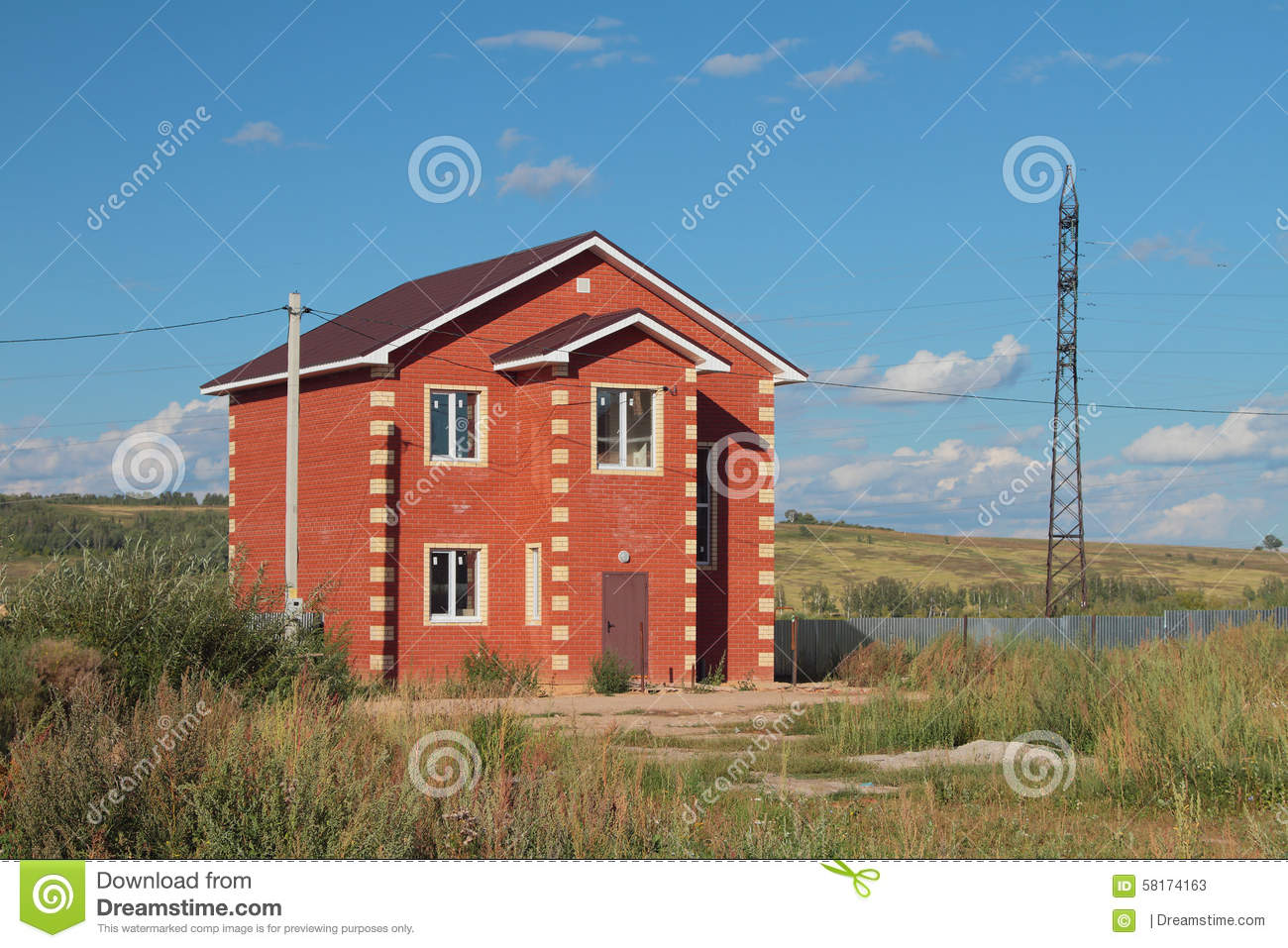 Small Country Cottage Plans New Not Populated Country House From Red Brick Stock Photo