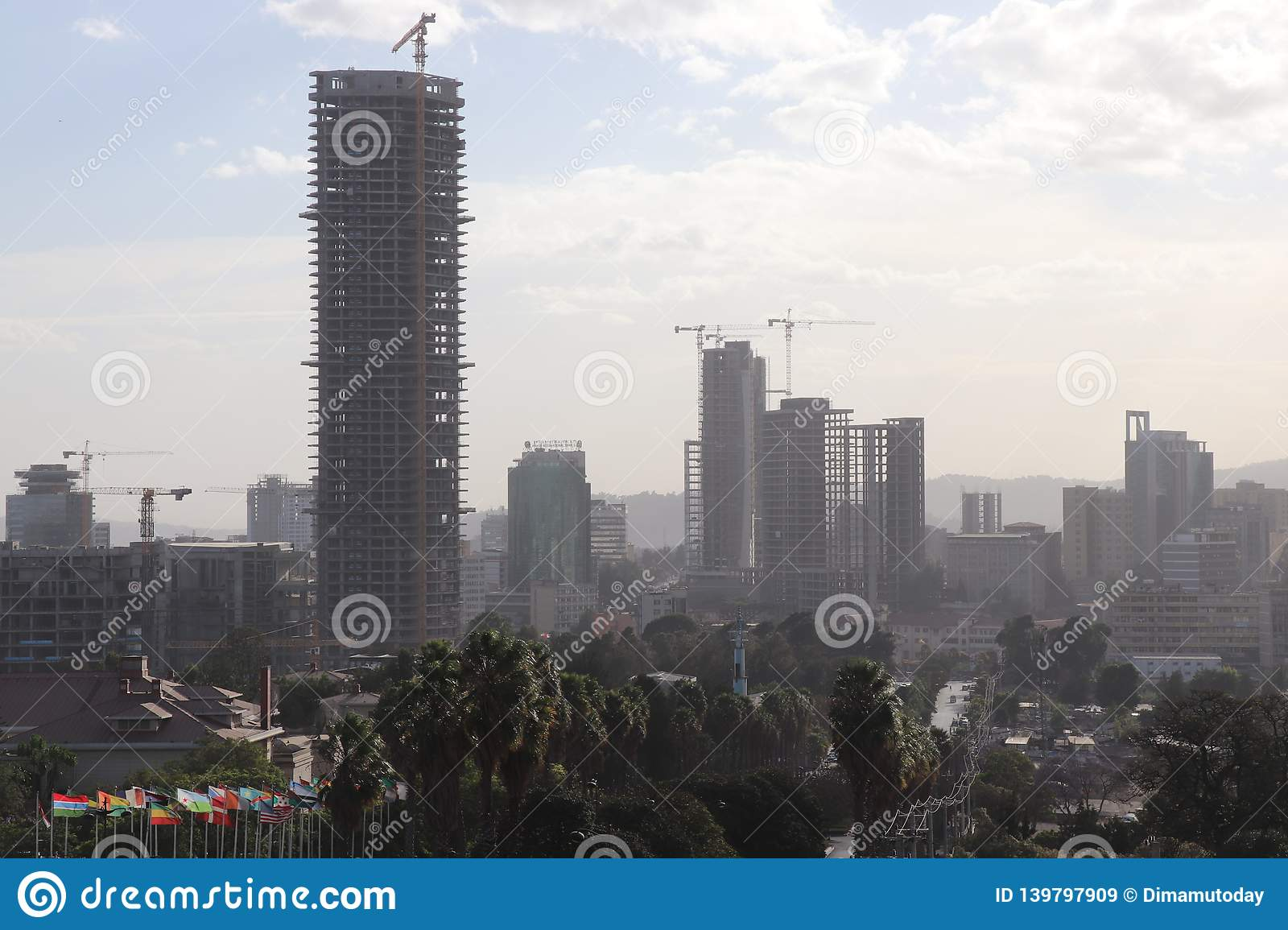 New Buildings Under Construction In Addis Ababa, Ethiopia