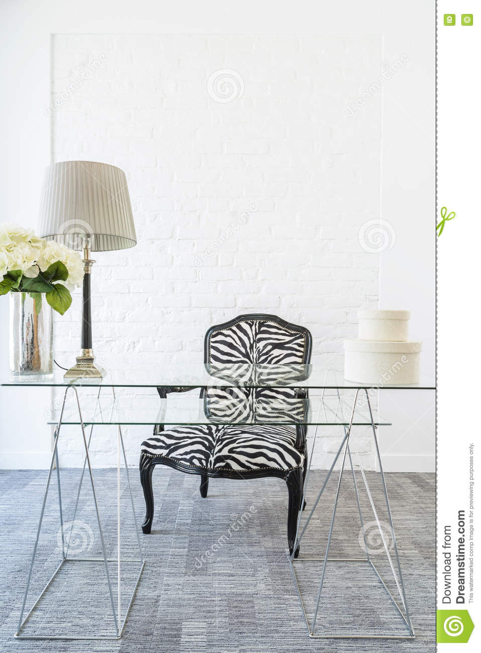 Light Interior With Glass Table, New Chair With Zebra Pattern And  Decorative Brick Wall