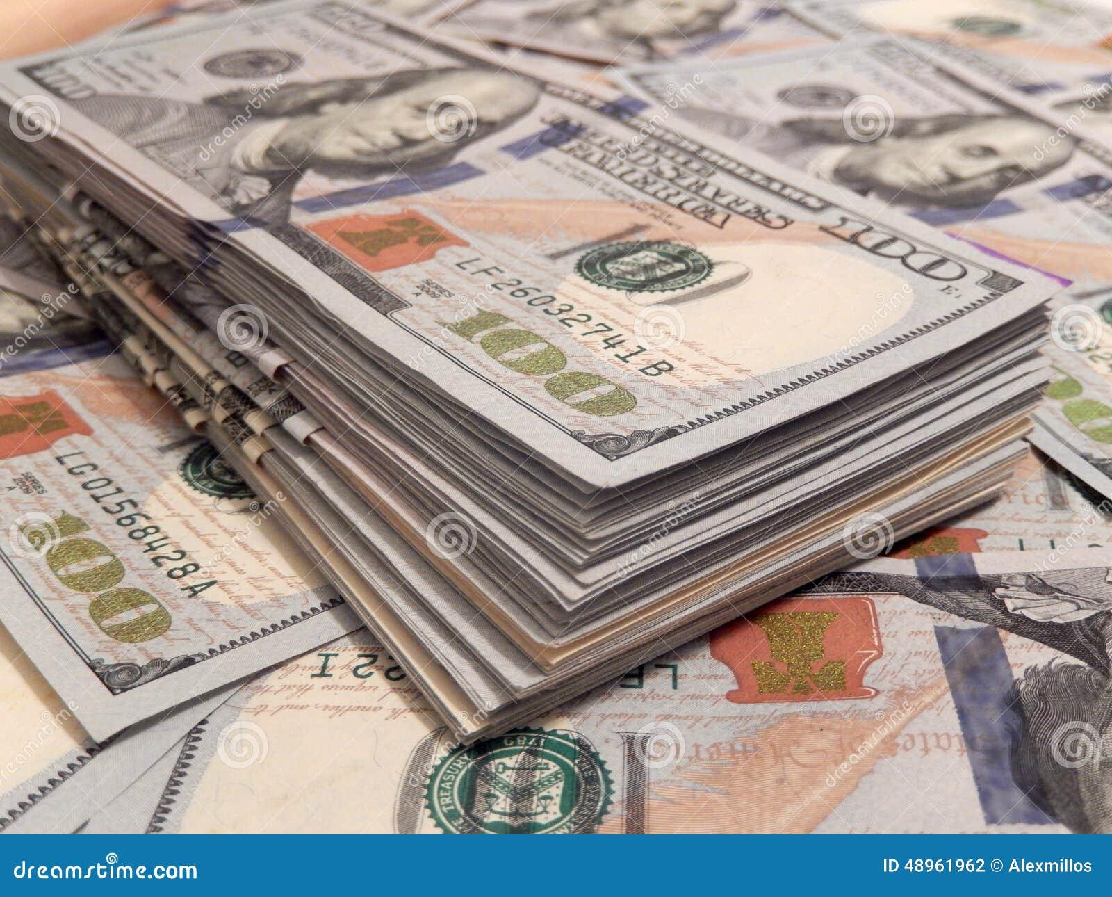Stack Of Money 100 Dollars Bill : New one hundred dollar bills stack stock photo image of