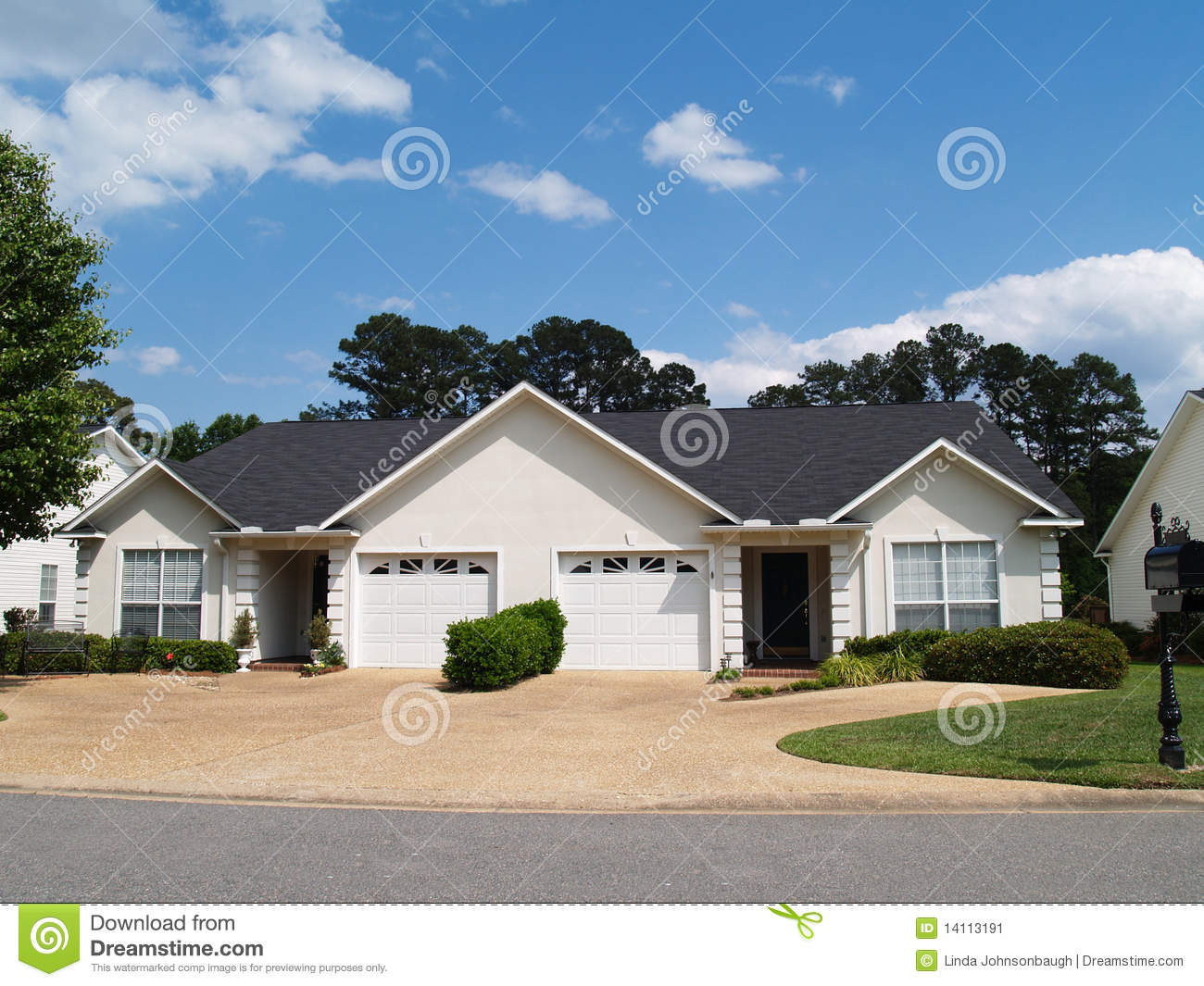 New one story small white vinyl duplex homes stock image for Duplex home builders