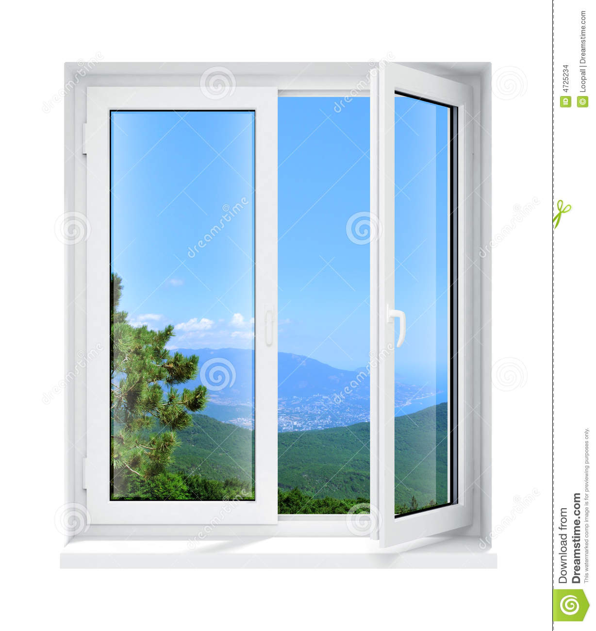 New opened plastic glass window frame isolated stock for Transom windows