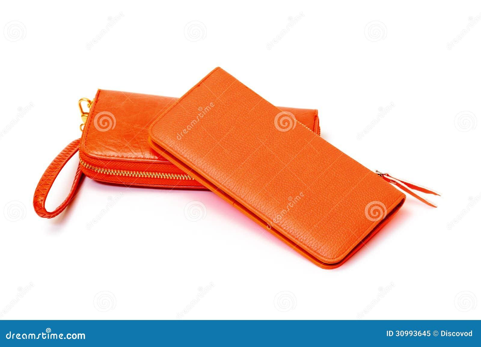 New Orange Leather Wallets Royalty Free Stock Photo