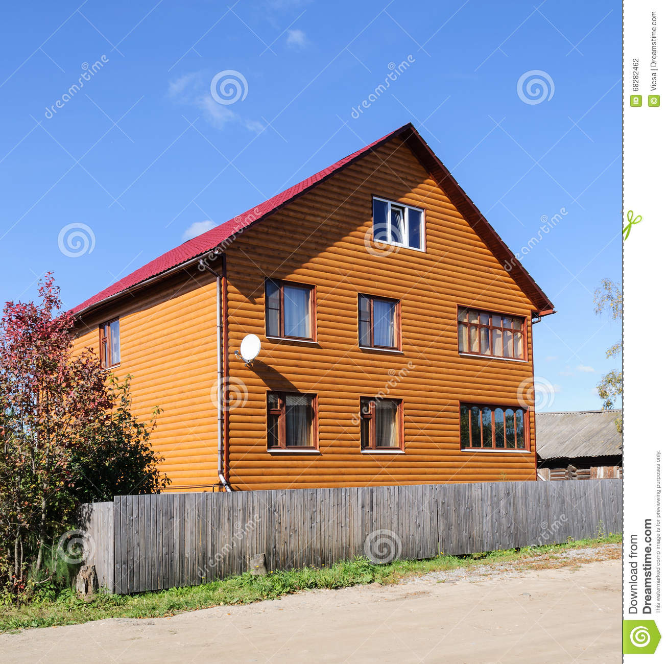 New Orange Two Storey Wooden Building Stock Photo Image