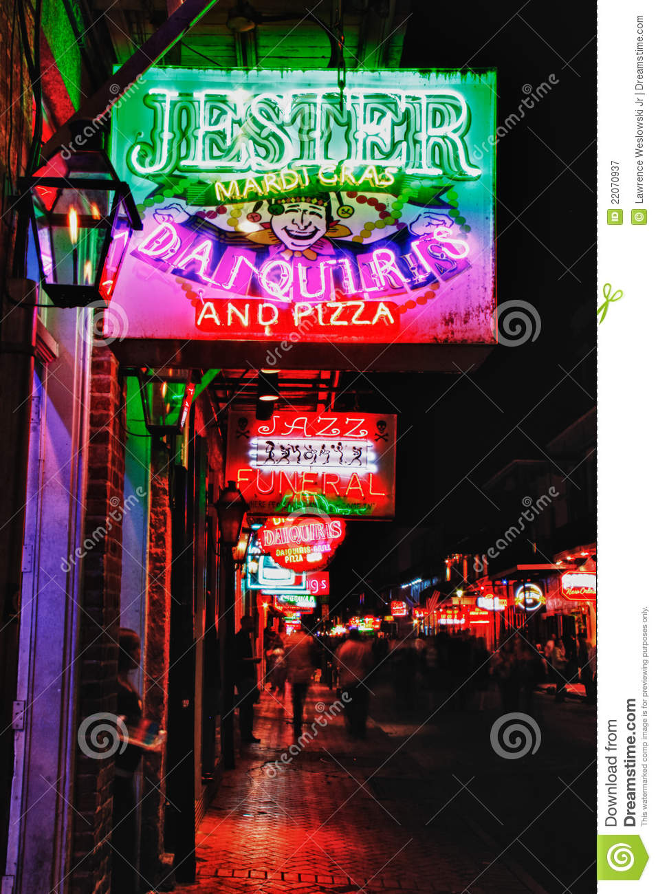 New Orleans Bourbon Street Drinks And Food Editorial