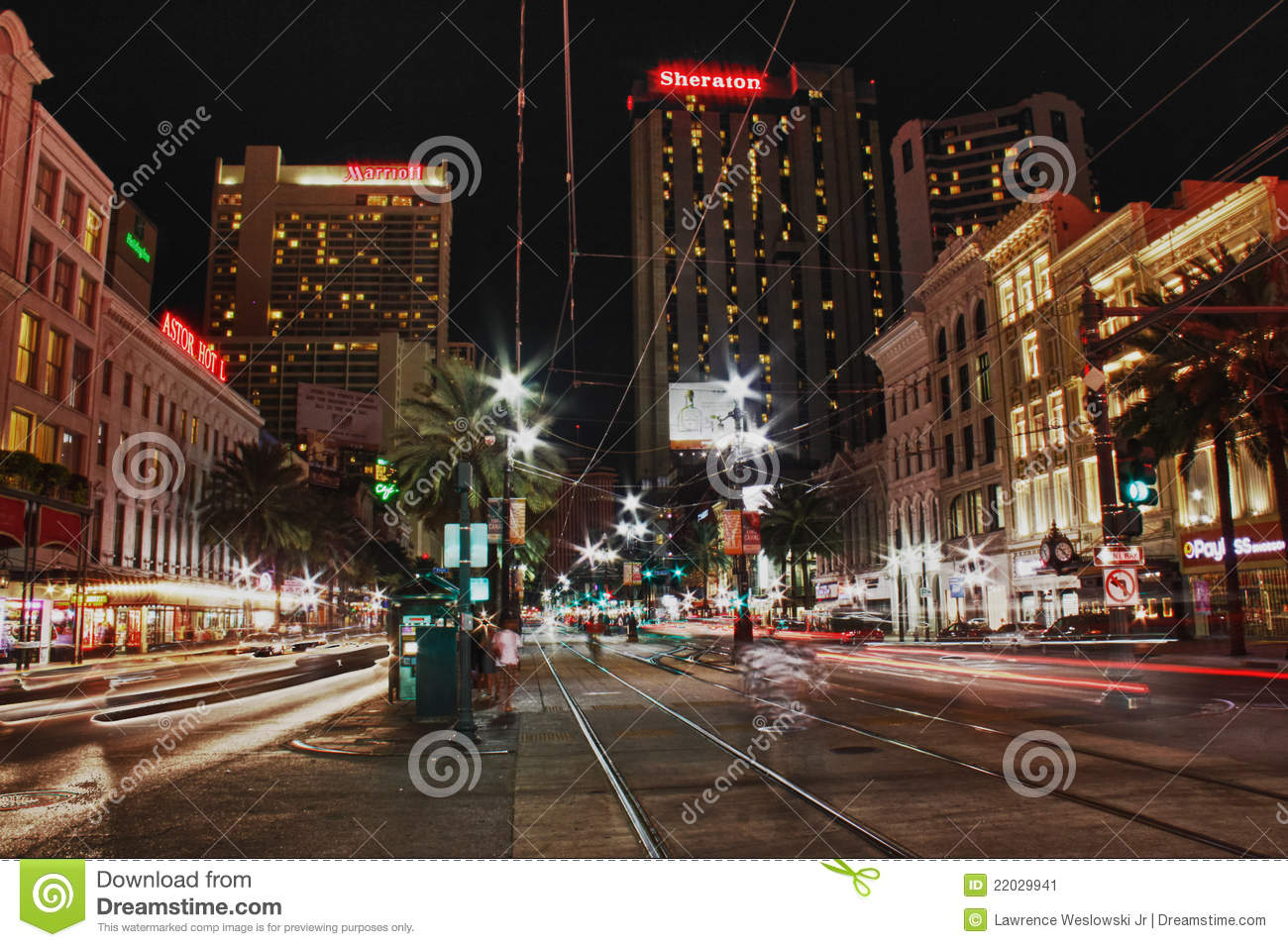 New Orleans Canal Street At Night Editorial Photo Image
