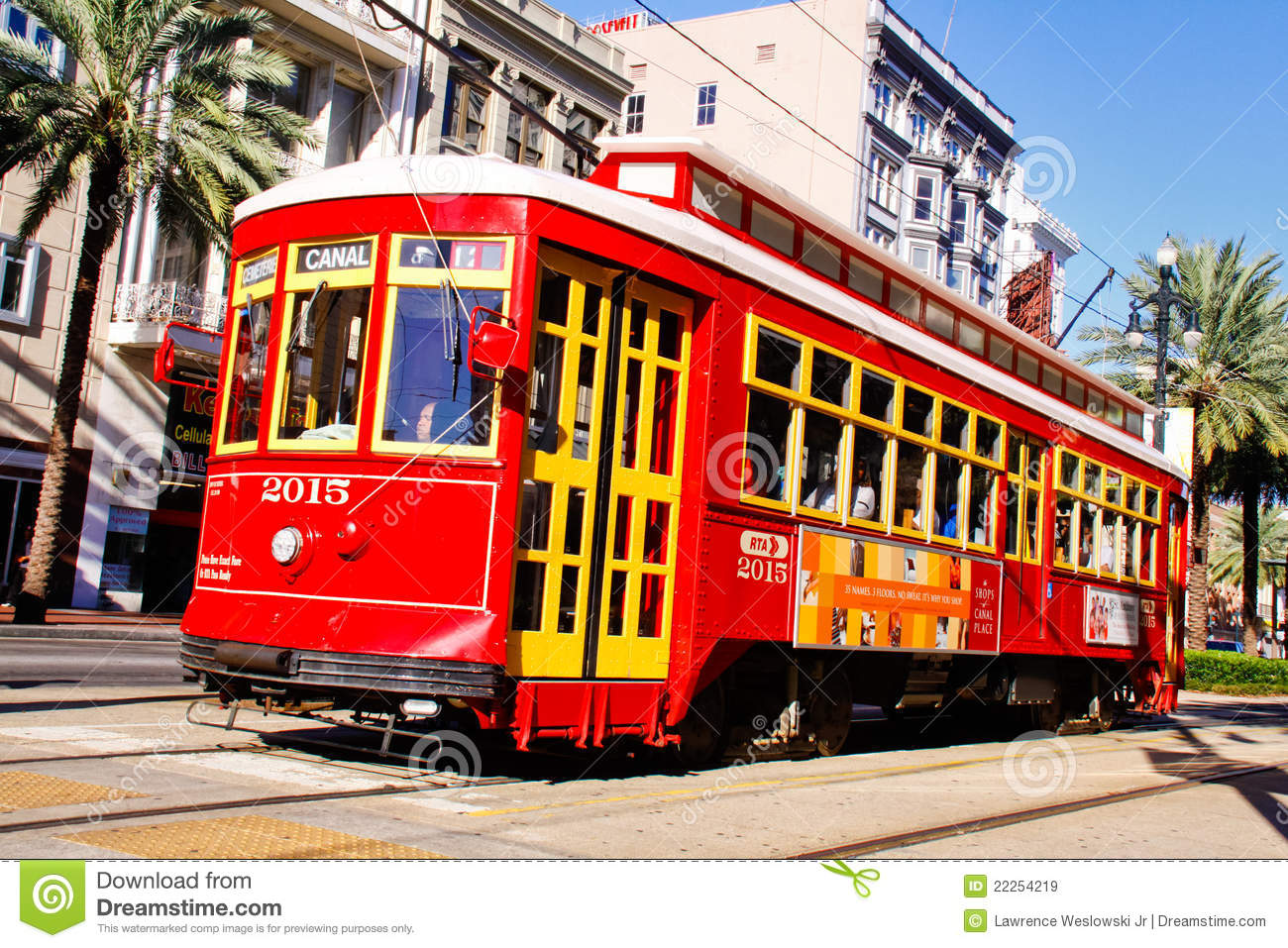 New Orleans Street Cars: New Orleans Canal Street Street Car Editorial Stock Image