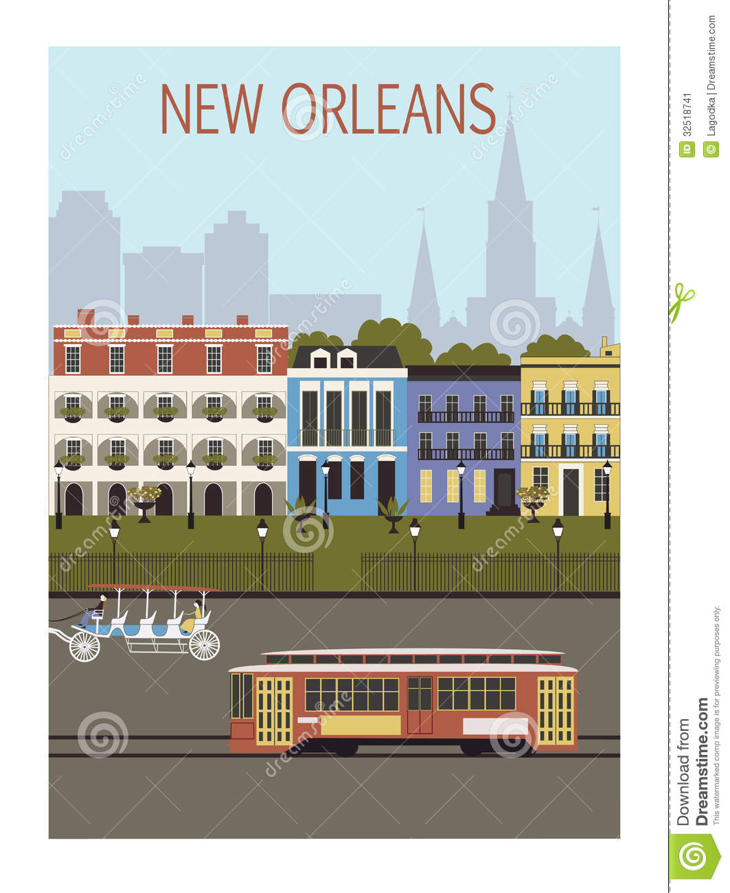New Orleans City Stock Vector Image Of Culture Locations 32518741