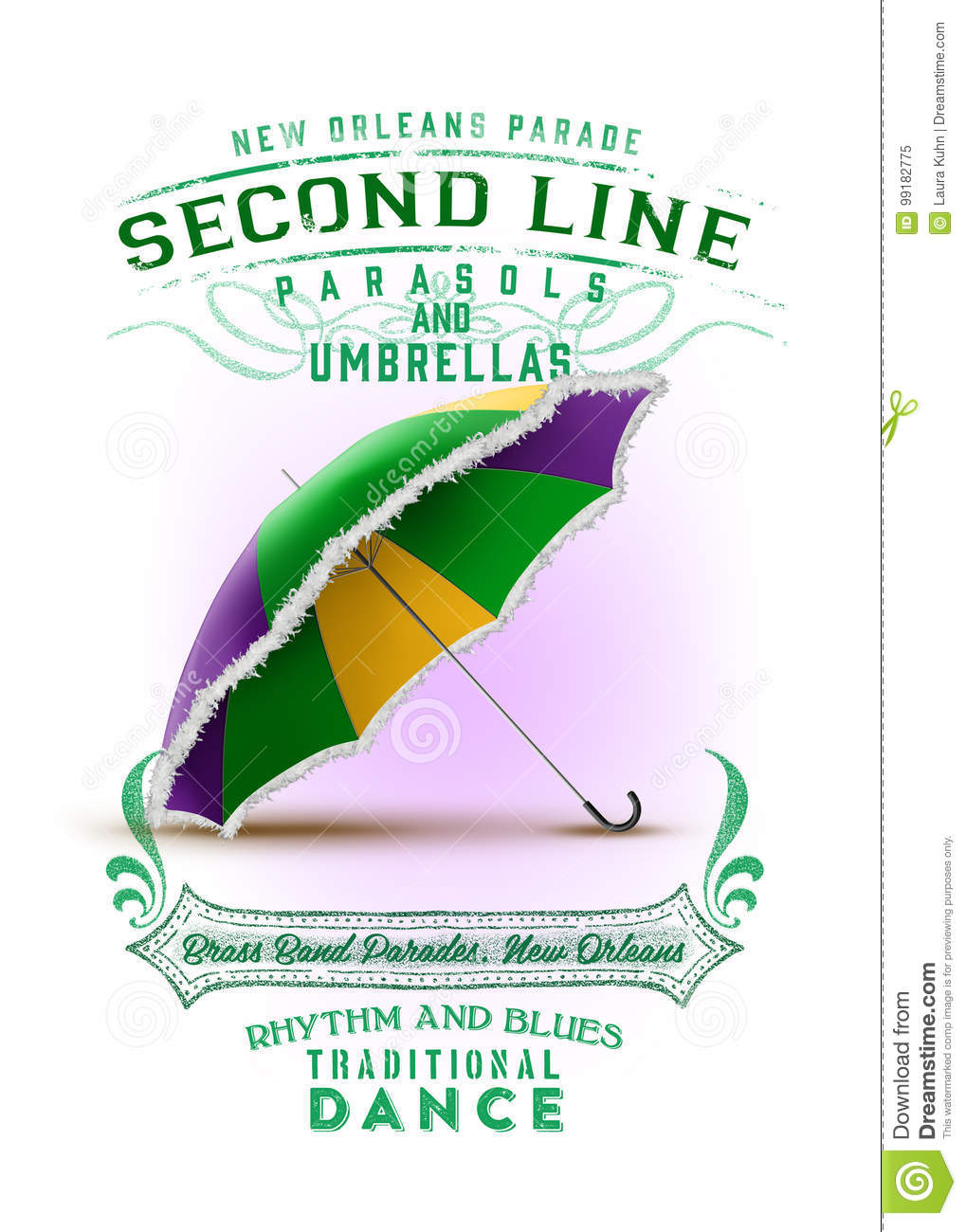 New Orleans Culture Collection Second Line Parade Umbrella Stock