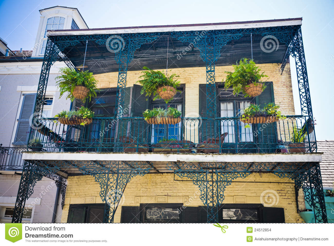 New orleans french quarter balcony stock photo image for Balcony french