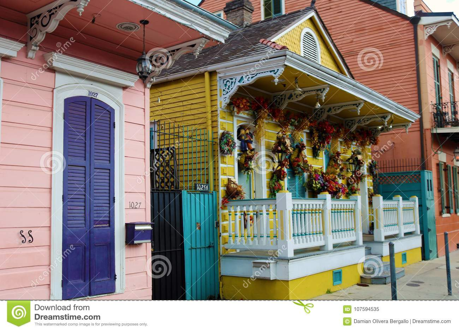 New orleans french quarter colorful house classic unique architecture