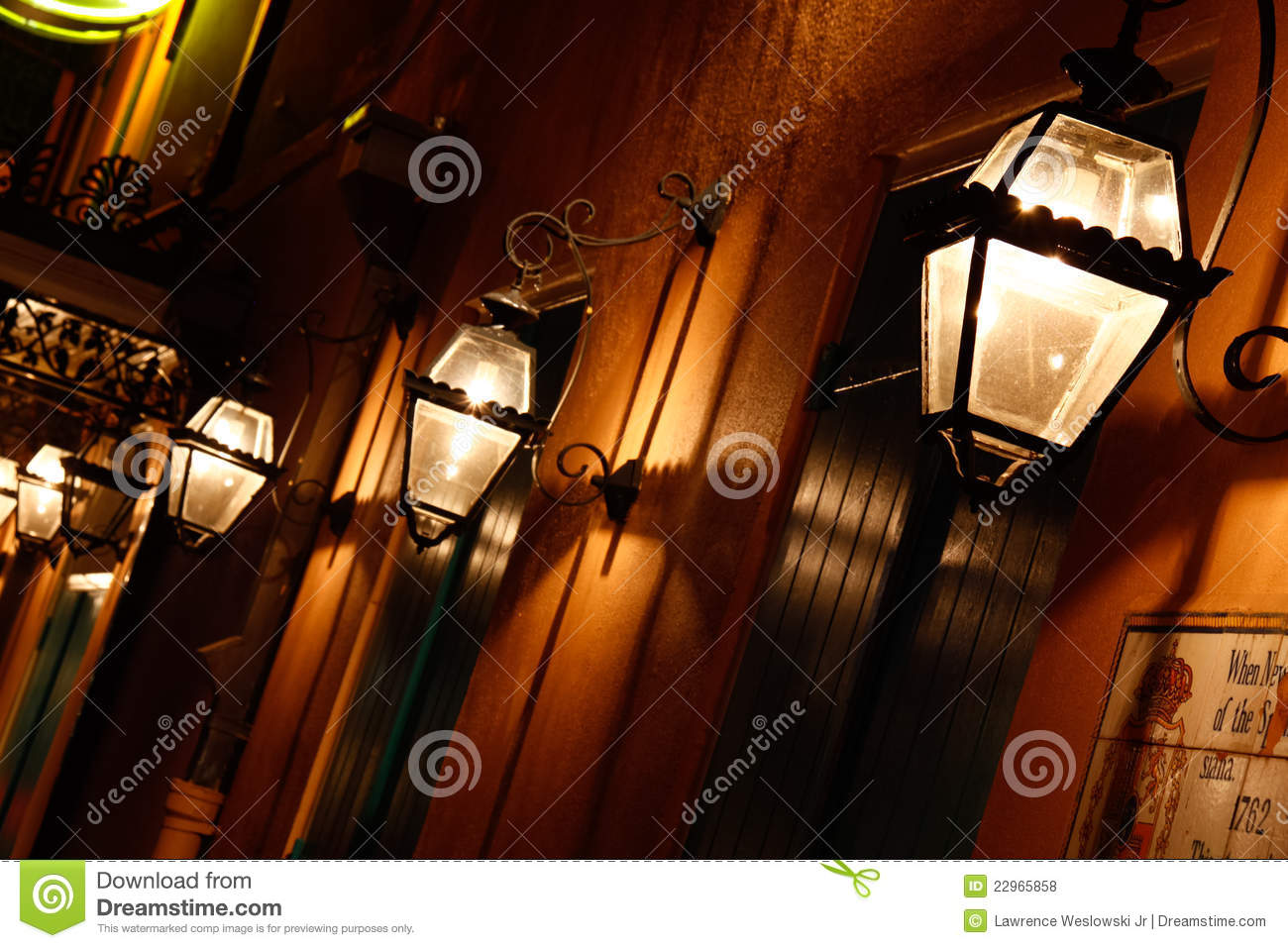 new orleans french quarter gas lights editorial stock photo image. Black Bedroom Furniture Sets. Home Design Ideas