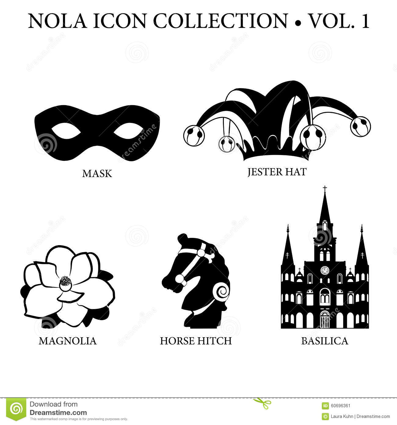 New Orleans Icon Collection with Mardi Gras mask, court jester hat ...