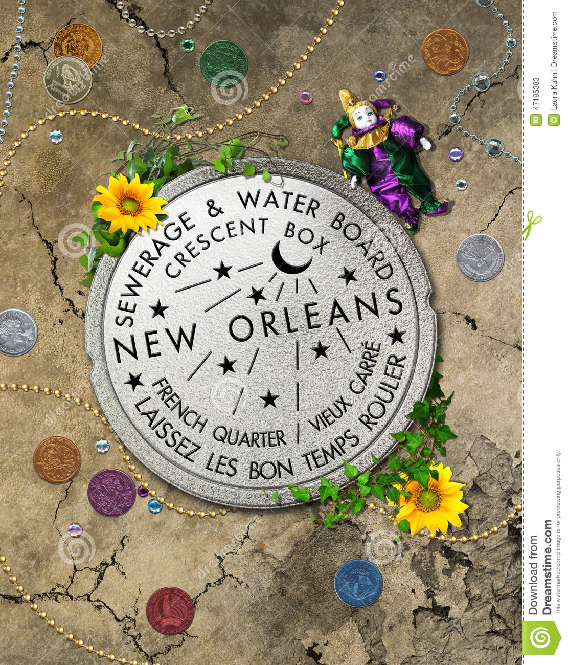 new orleans iconic water meter stock illustration