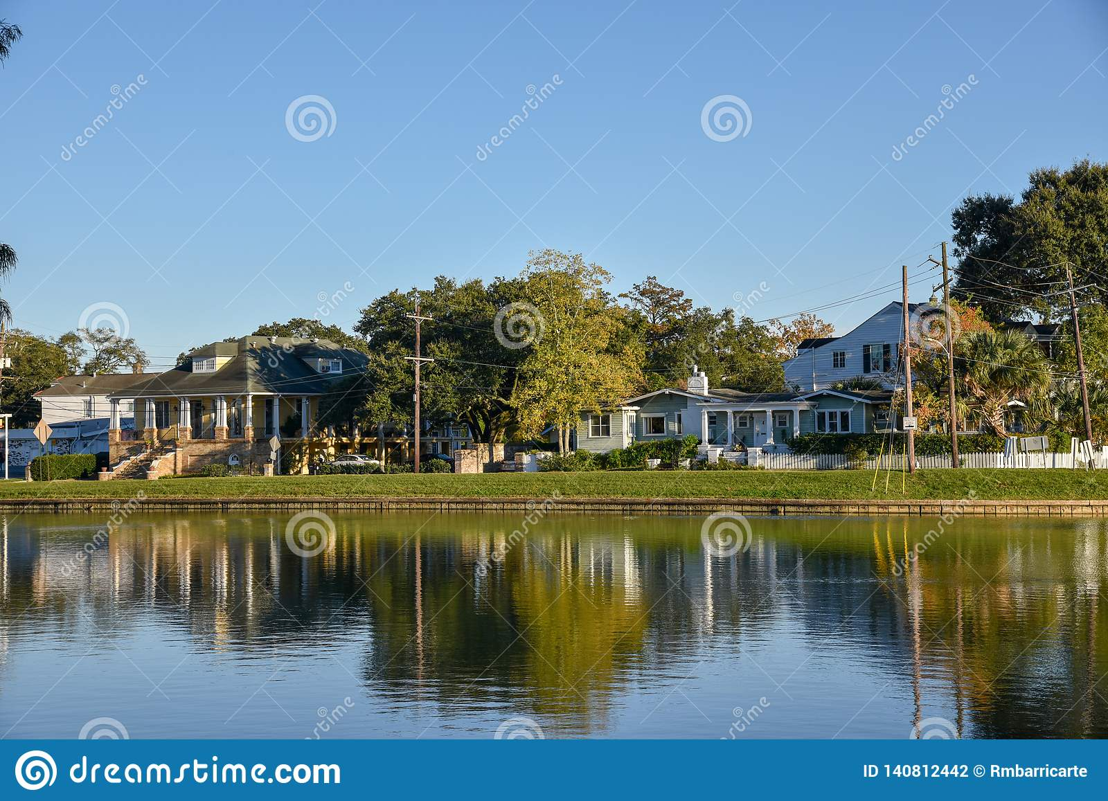 Typical houses in the Bayou St. John of New Orleans (USA