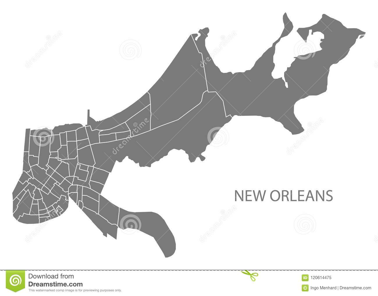 Louisiana New Orleans Map.New Orleans Louisiana City Map With Neighborhoods Grey Illustration
