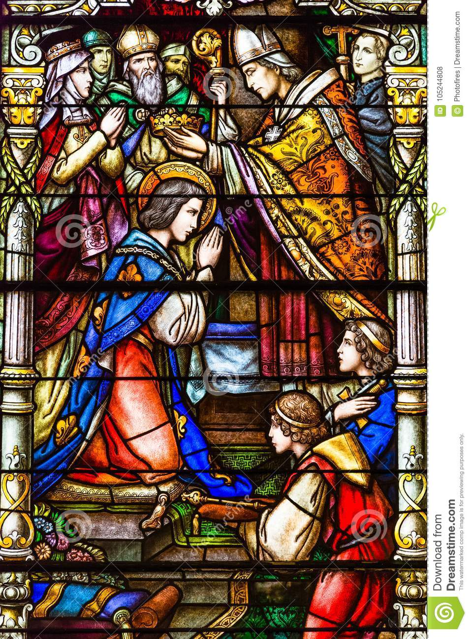 Stained Glass New Orleans.Colorful Stained Glass Window In St Louis Cathedral In New