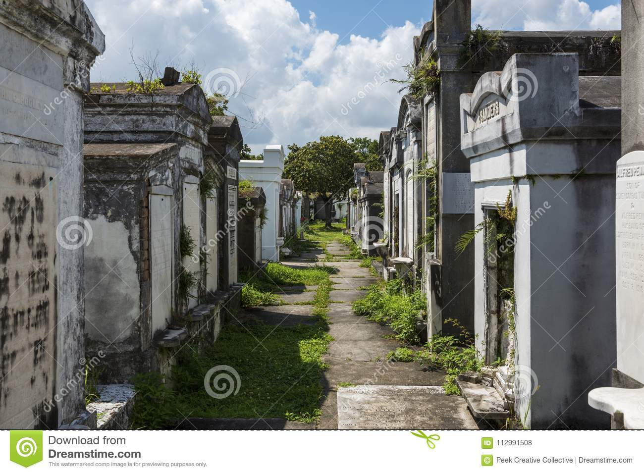Row of tombs at the Lafayette Cemetery No. 1 in the city of New Orleans, Louisiana