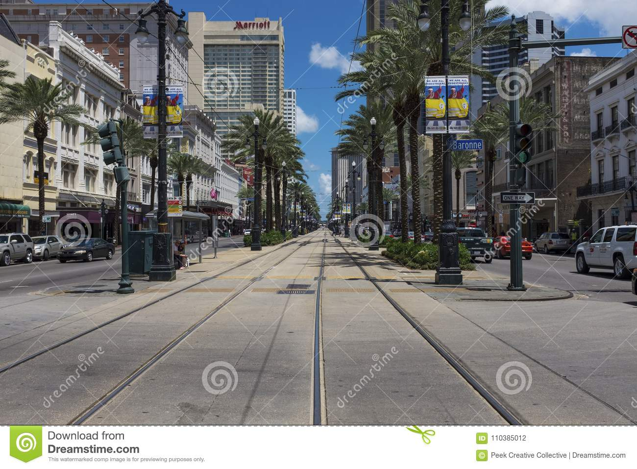 Street scene at Canal Street in the downtown of the city of New Orleans, Louisiana