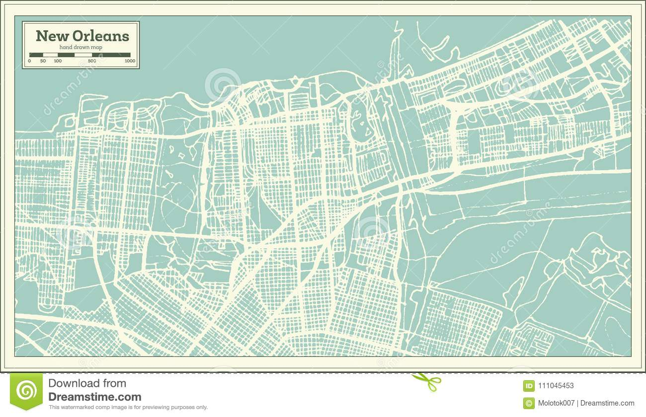New Orleans Louisiana Usa City Map In Retro Style Outline Map
