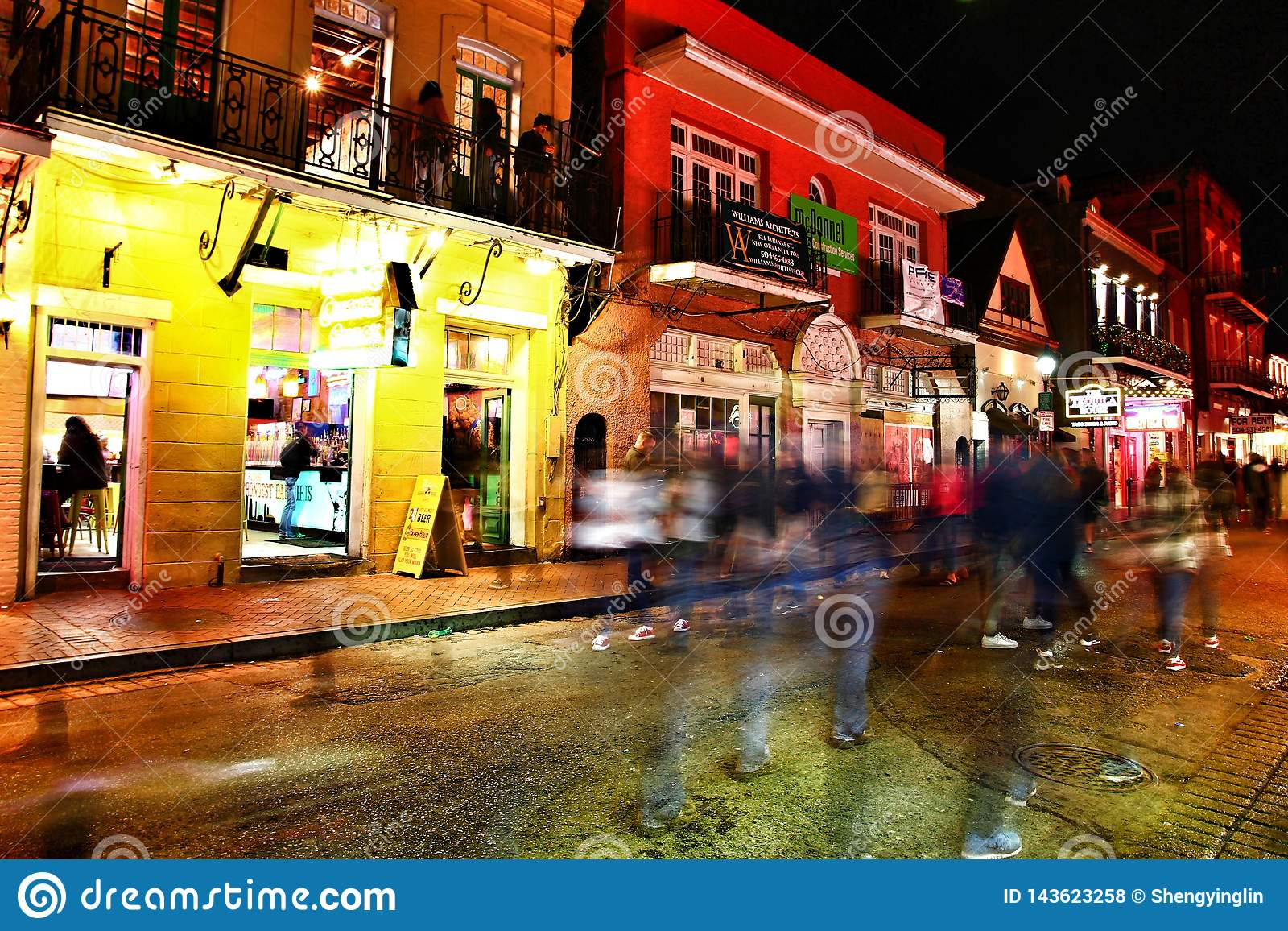 Pubs and bars with neon lights in the French Quarter, New Orleans Louisiana