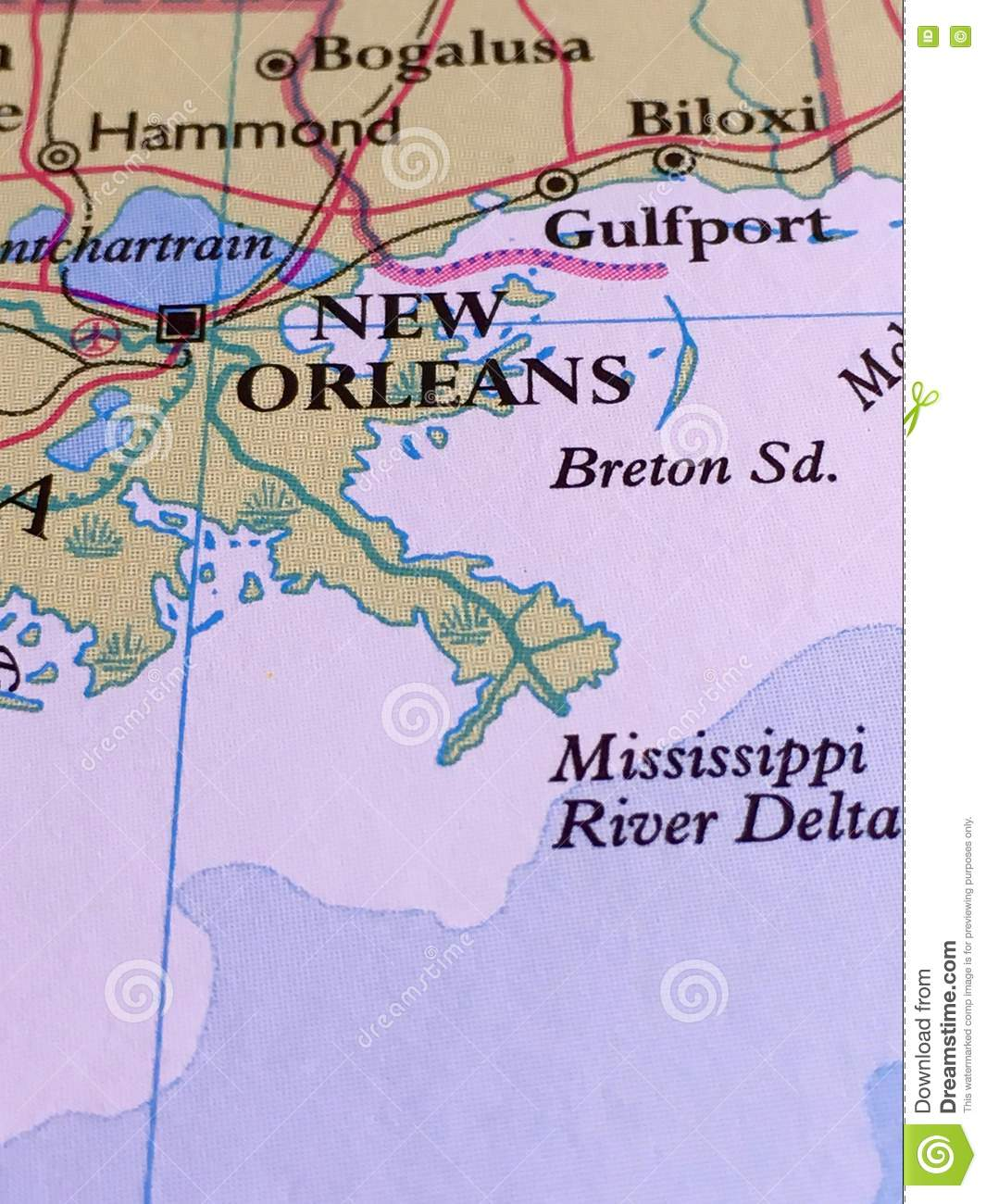 Louisiana New Orleans Map.New Orleans Map Stock Photo Image Of Biloxi Delta Vertical 80988342