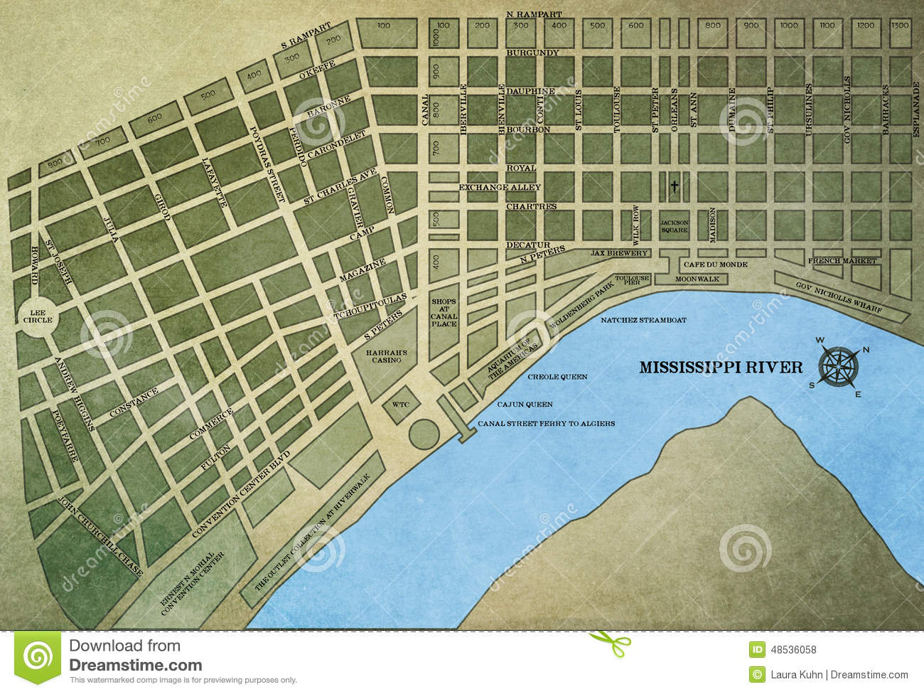 Royalty Free Stock Photo New Orleans Map