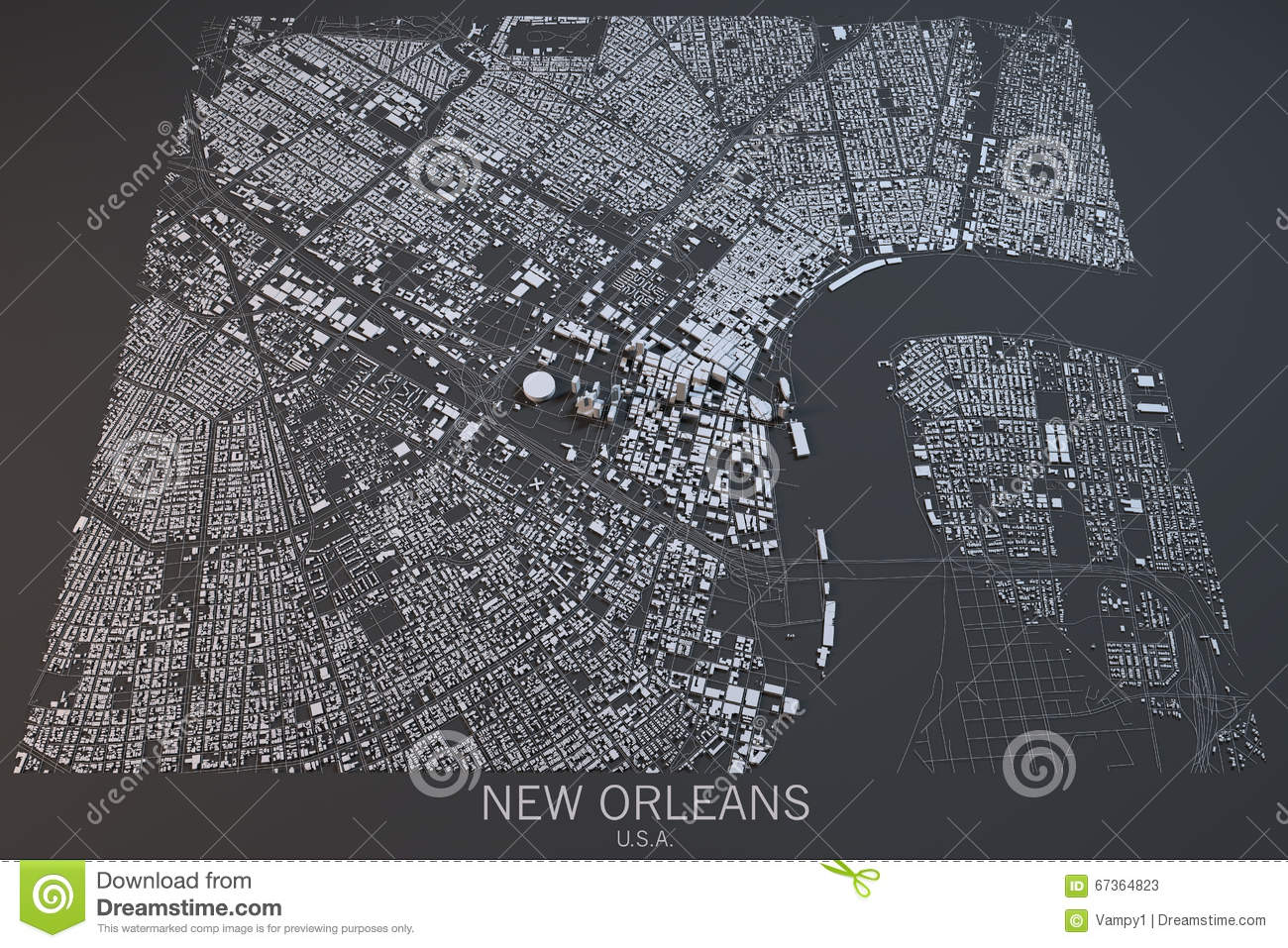 United States Map Satellite.New Orleans Map Satellite View United States Stock Illustration
