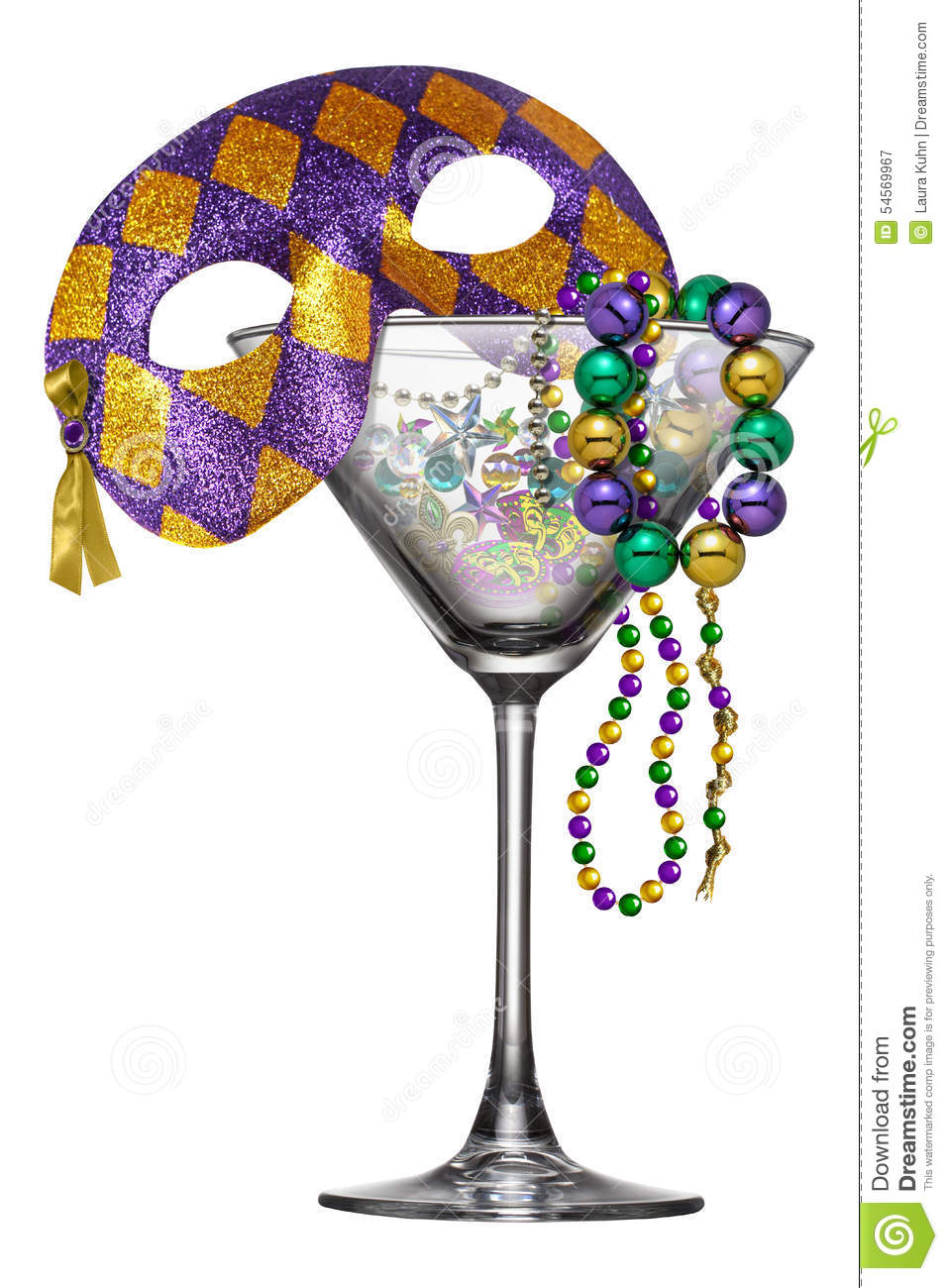 Isolated on white classic New Orleans legendary Mardi Gras martini ...