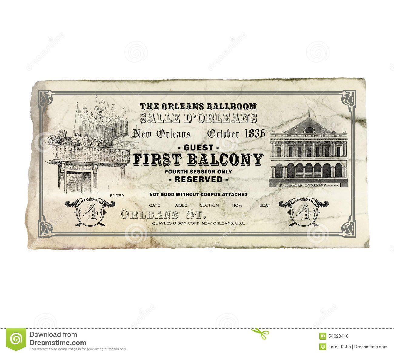 New orleans orleans theater opera ticket stock photo for Architecture antique