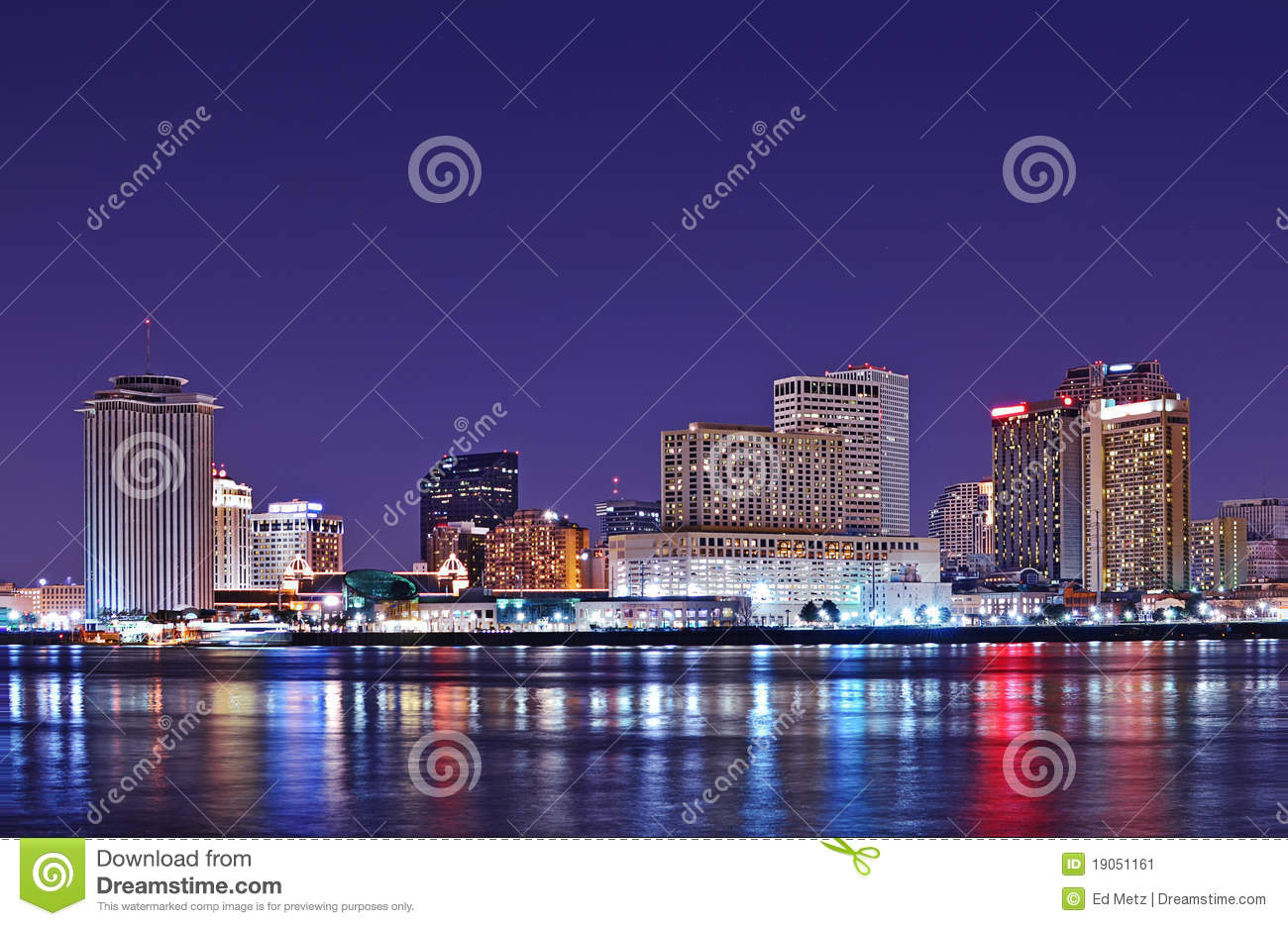 New Orleans skyline reflected in Mississippi River