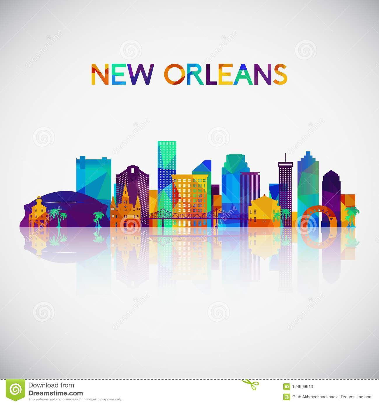 New Orleans skyline silhouette in colorful geometric style.