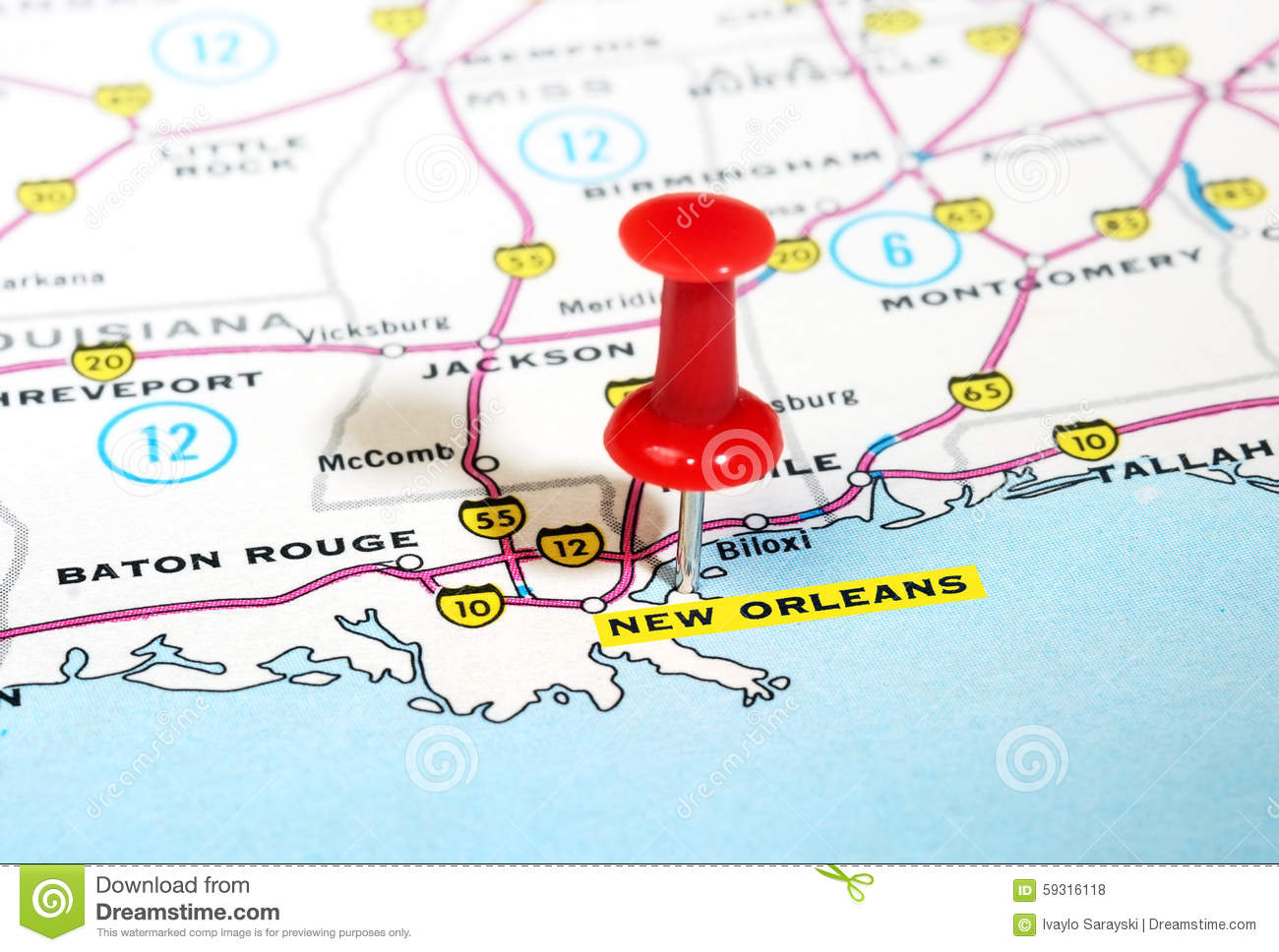 New Orleans USA Map Stock Photo Image - New orleans usa map